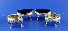 Four George III silver salts, 9 oz.