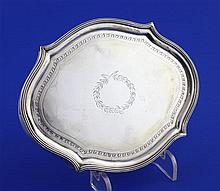 A George III silver mounted wooden teapot stand, 5.75in.