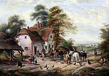 George Lara (fl.1862-1871) Village scene, 10 x 14in.