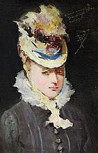 Salvador Sanchez Barbudo (1857-1917) Portrait of a lady, 9.25 x 6.25in.