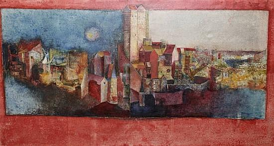 Sadanand Bakre (1920-) Indian Day and Night Cityscape 22 x 40in.