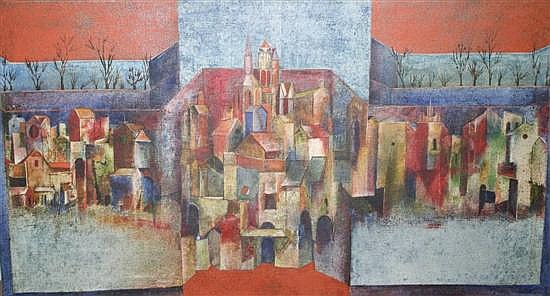 Sadanand Bakre (1920-) Indian Cityscape 22 x 40in.