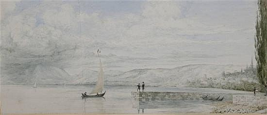 Robert Streatfield (1786-1852) The Lake of Neuchatel 6 x 13.5in.