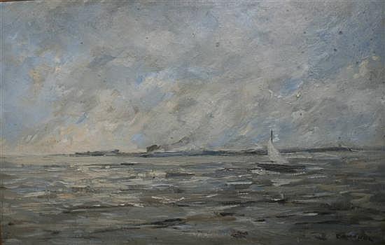 Paul Pouchol (1904-1963) Barque dans la baie de la Seine 11 x 16in.