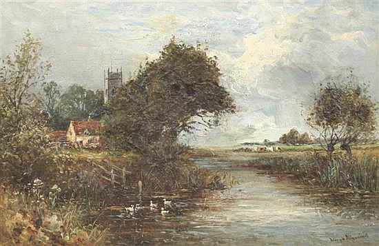 Wiggs Kinnaird (1875-1915) Suffolk landscape 12 x 18in.