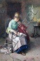 Carlton Alfred Smith (1853-1946) Mother and child reading a story, 30.5 x 22in.
