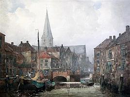 John Ernest Aitken (1881-1957) A waterway in Breda, Holland, 13.5 x 19.5in.