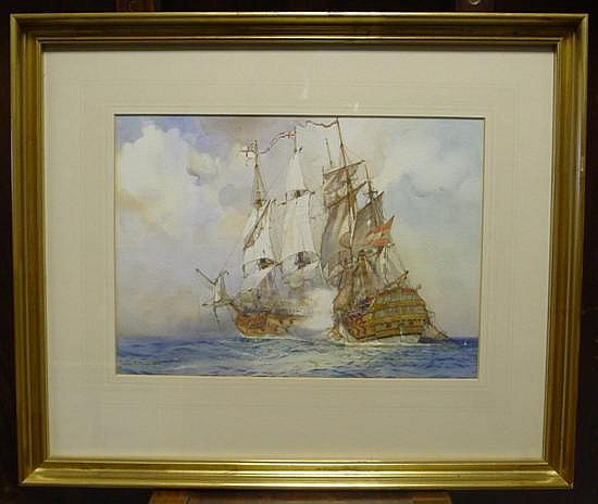 James S. Mann (1883-1946) English and Spanish frigates in battle, 9.5 x 13.5in.
