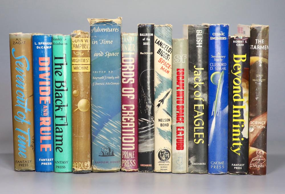 Science Fiction - Thirteen titles - Brackett, Leigh - The Starmen, 1st edition, with unclipped d/j, Gnome Press, 1952; Carr, Robert Spencer, 1st edition, signed, with unclipped d/j, Fantasy Press, 1951; Simak, Clifford D