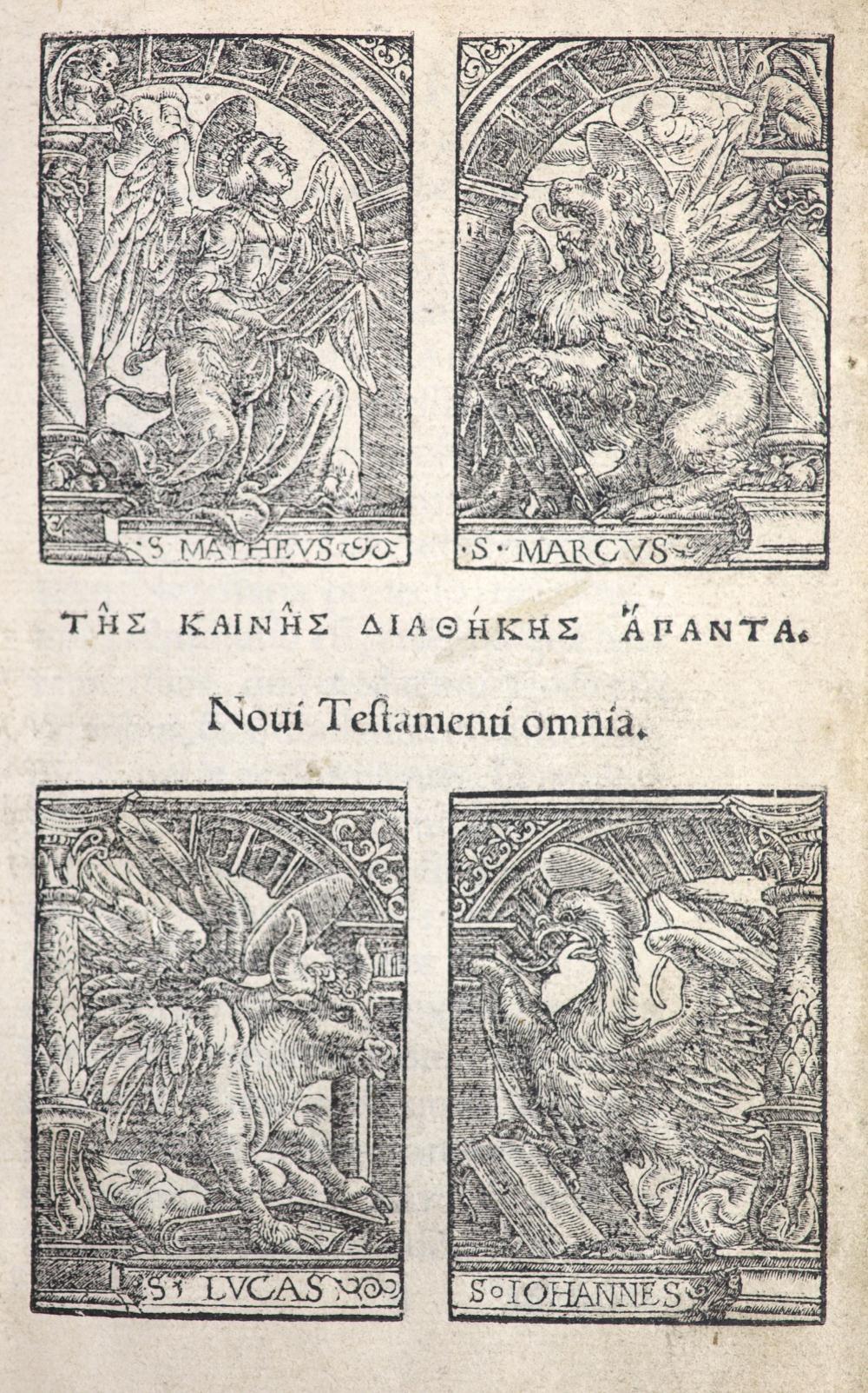Bible, New Testament in Greek - Tes Kaines diathekes hapanta. Nov Testamenti Ominia, 1st edition,