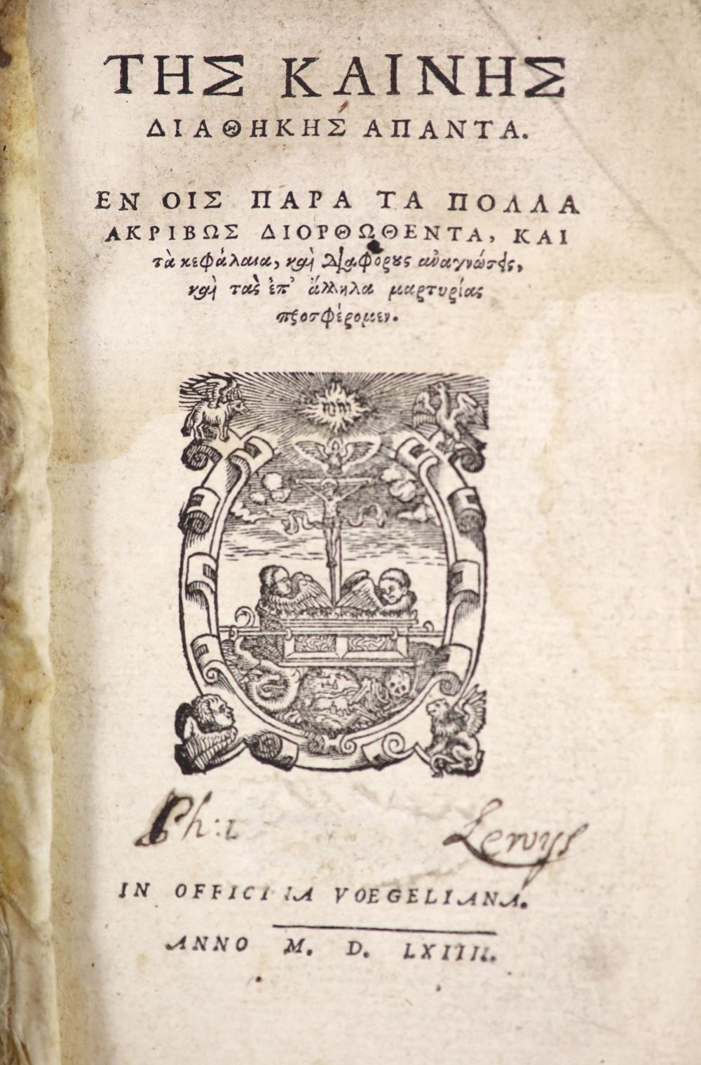 Bible - Tes Kaines Diathekes Apanta....[The New Testament in Greek],