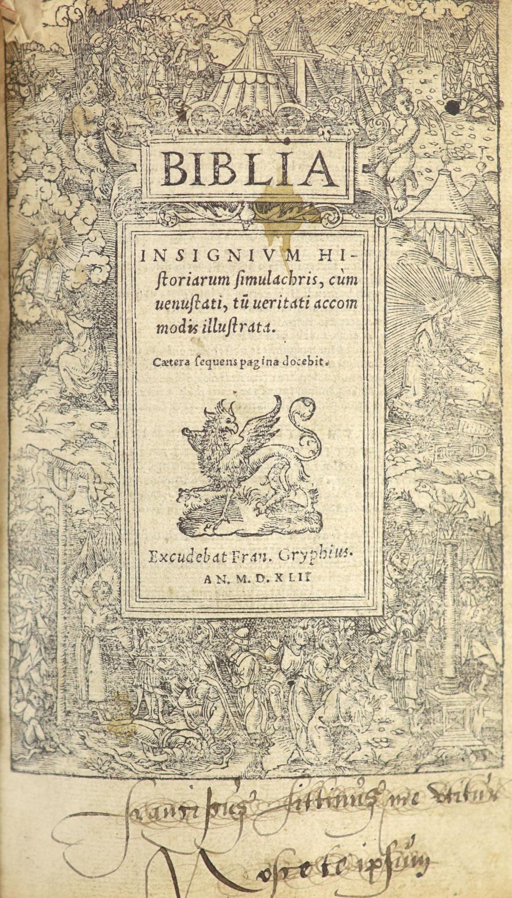 [Holy Bible]. Biblia. Insignium Historiarum Simulachris ...