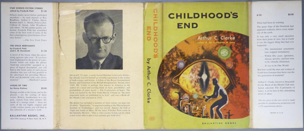 Clarke, Arthur C - Childhood's End, 1st edition, red cloth, in unclipped d/j, with 1 inch tear to rear head of spine, 4 inch split to rear folded edge, Ballantine Books, New York, 1953