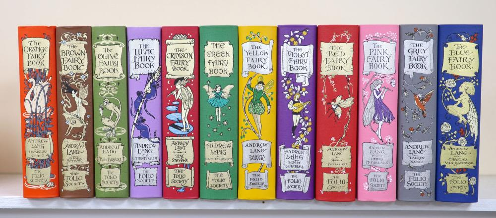 Lang, Andrew (Ed) -The Folio Society Rainbow Fairy Book Collection, Complete set of 12 volumes. (Blue, Red, Green, Yellow, Pink, Grey, Violet, Crimson, Brown, Orange, Olive, Lilac), bound in buckram and blocked in 4 colo