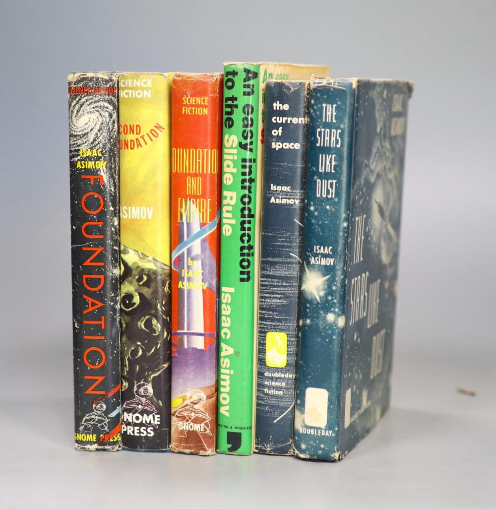Asimov, Isaac - The Foundation Trilogy, all 1st editions, all in unclipped d/j', all Gnome Press, New York - Foundation, 1951; Foundation and Empire, 1952; Second Foundation, 1953, with , The Stars Like Dust, 1st edition