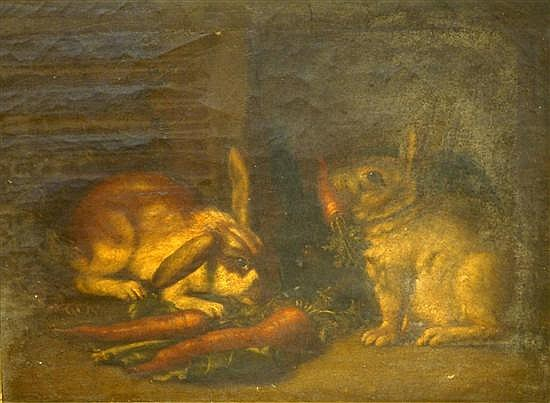 Attributed to James Bateman (1815-49) Rabbits eating carrots 20 x 27in.