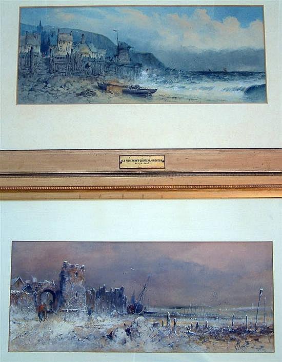 George James Knox (1810-1897) 'Old Fishermans Quarters, Brighton' 8.25 x 20in.