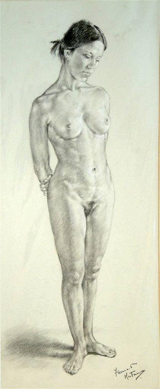 Franco Matania (1922-) Standing female nude 21.5 x 9in.
