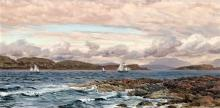Attributed to John Brett ARA (1831-1902) Longships Lighthouse & 'The Clyde off Fairley' [sic] 6.75 x 13.25in.