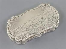 A Victorian silver shaped oval vinaigrette by Nathaniel Mills, the lid engraved with landscape scene,
