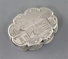 A Victorian silver cusped oval vinaigrette by Nathaniel Mills, the lid engraved with houses,