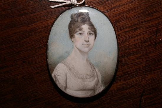 Attributed to Edward Nash (1778-1821) Miniature of a lady 2.5 x 2in.