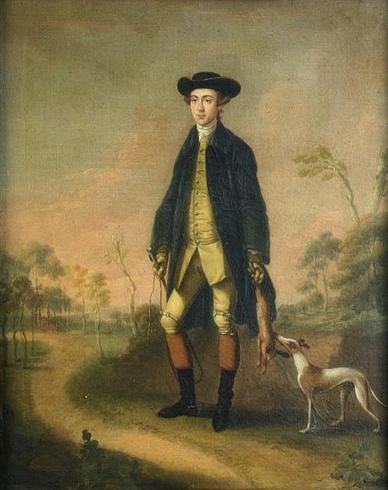 Attributed to Edward Haytley (fl.1740-61) Sportsman with whippet in a landscape 20.5 x 16.5in.