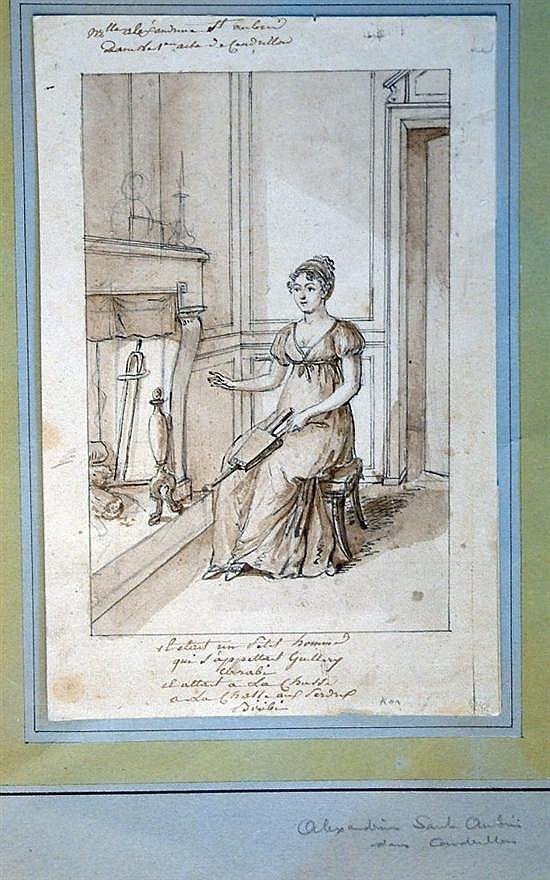 Augustin de Saint-Aubin (1737-1807) French Cinderella 10.75 x 7in.