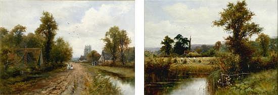 F Wiggs Kinnaird (1875-1915) 'A Suffolk Village' & 'Cornfield near...' 10 x 14in.