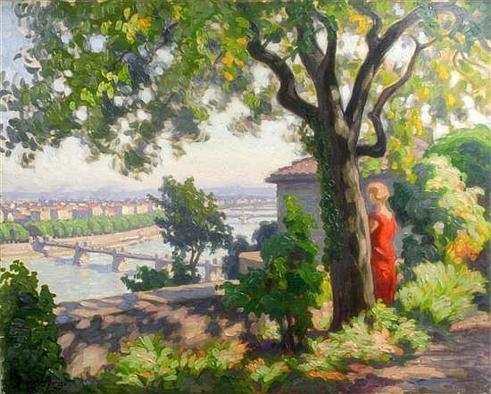 Louis Bourgeois Borgex (1873-?) French 'Matin' & 'Apres Midi - Vue de Lyon' 25.5 x 32in.