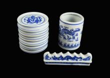 A Set of Chinese Blue and White Porcelain Chinese Painting Accessories (Paintbrush Pot, Paintbrush Rack, and a Set of Palettes) marked as