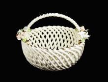 An Italian Bassano Handarbeit  Porcelain Flower Basket
