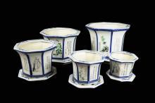 A Set of Jingdezhen Famille Rose Porcelain Flower Pots with Flower Patterns (5 Sets 10 pcs)