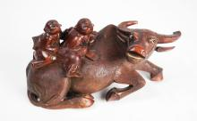 [Chinese] An Old Hardwood Carved Buffalo with Herding Boys Figurine