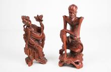 [Chinese] An Old Hardwood Carved Figurine of He Xiangu from the Eight Immortals and an Old Hardwood Carved Figurine of Sadu Monk