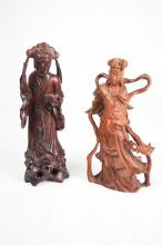 [Chinese] A Pair of Old Hardwood Carved Lady and Gentleman Figurine