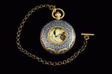 An Old Vintage Cloisonne Case with Window 3 Clock Pocket Watch with Moon/Sun, marked