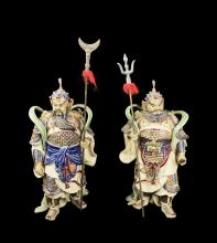 A Pair of Chinese Shiwan Pottery Figurines
