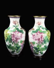 A Pair of Chinese White Ground Cloissone Vase Painted with Chrysanthemums and Butterflies