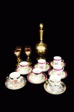 A Set of Italian Glass Wine Bottle and 4 Cups and Two Sets of Japanese Expresso Coffee Cups (a set of 5 and a set of 2)