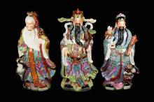 A Set of Three Extra Large Old Chinese Famille Rose Porcelain Statues of
