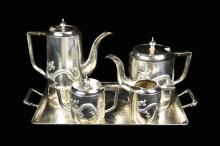 A Set of Five Republic Era Chinese Export Silverware Tea and Coffee Set with Hallmark