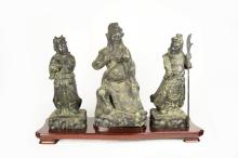 A Set of Republic Era Chinese Bronze Statues of Guan Gong, His Attendant Zhou Cang, and His Son, Guan Ping (with base)