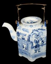 A Chinese Blue and White Porcelain Teapot with Story Portrait and Bronze Handle