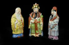 Chinese Famille-rose Fortune, Prosperity, and Longevity Figurine