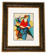 Tarkay- Framed Lithograph-Original Signature ''Waiting''