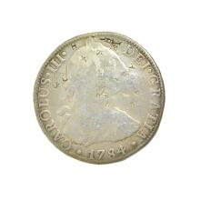 1784 Extremely Rare Eight Reales American First Silver Dollar Coin