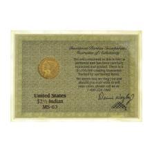 *Investment Rarities 1929 $2.1/2  U.S. Indian Head Gold Dollar Coin (DF)