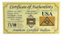 One Grain .9999 Fine 24 Karat Gold American Certified Bullion Bar