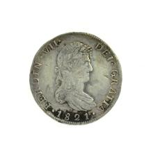 1821 Eight Reales American First Silver Dollar Coin